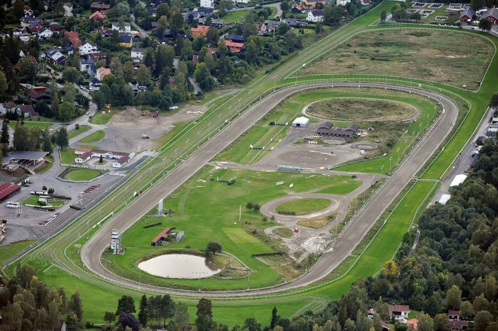 Helicopter flights from Oslo Norway over Ovrevoll Horse racetrack
