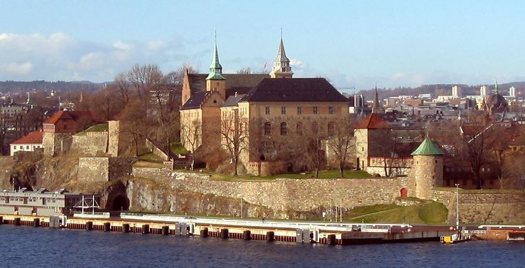 Helicopter sightseeing from Oslo Norway over Akershus fortress