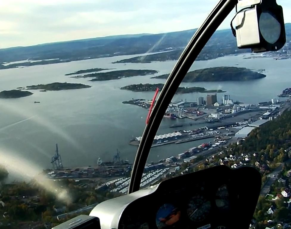 Helicopter tour from Oslo Norway over Oslo Port