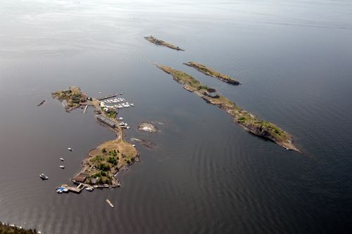 Helicopter ride from Oslo Norway over Steilene Island