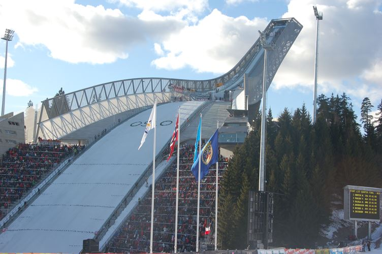 Helicopter flights from Oslo Norway over Holmenkollen Ski Jump